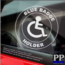 1 x Disabled Blue Badge Holder-Round-Window Sticker-Sign,Car,Warning,Notice,Logo